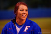 Florida Gators RHP/1B Lauren Haeger flashes a smile during the second inning.  Florida Gators vs NC State Wolfpack.  February 13th, 2015. Gator Country photo by David Bowie.