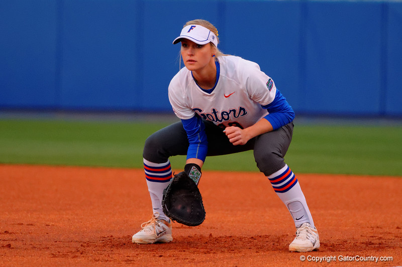 Florida Gators first baseman Chelsea Herndon waits at first base during the first inning.  Florida Gators vs NC State Wolfpack.  February 13th, 2015. Gator Country photo by David Bowie.