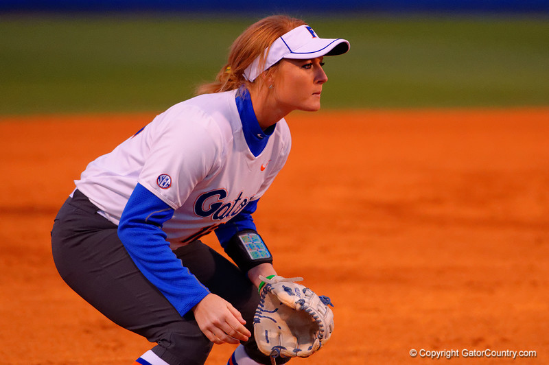 Florida Gators third baseman Taylore Fuller waits at third for the pitch.  Florida Gators vs NC State Wolfpack.  February 13th, 2015. Gator Country photo by David Bowie.