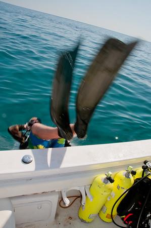 An NPS SFCN diver entering the water for a fish survey dive