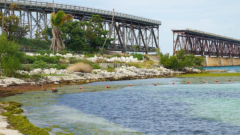 Old bridge stretching across horizon