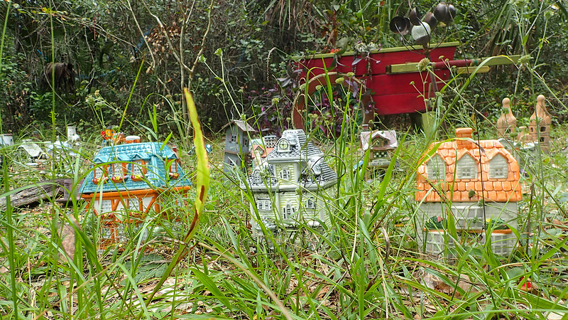 Little houses in tall grass