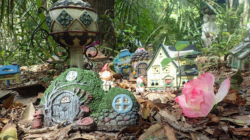 Gnome and fairy houses on the forest floor