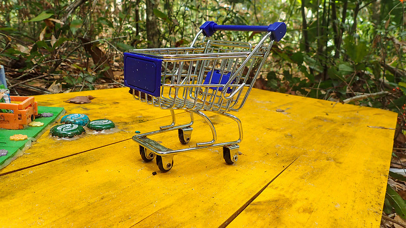 Close up of toy shopping cart