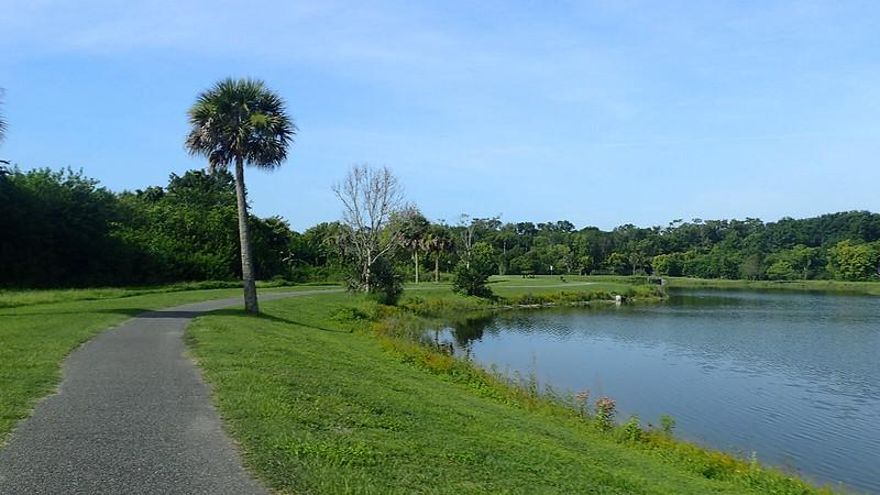 Bike path to east of lake