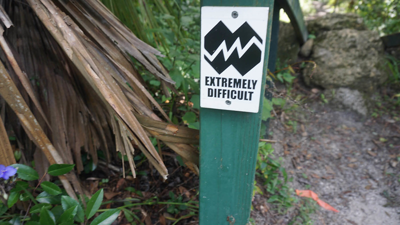 Extremely difficult bike trail marker