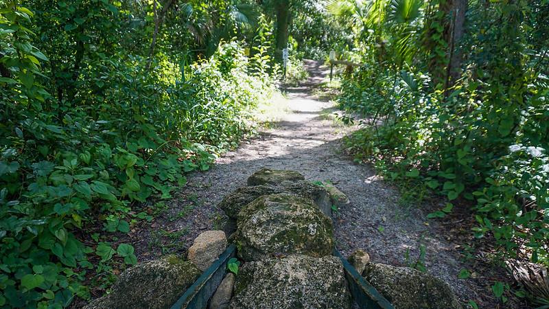 A crib of rocks in trail