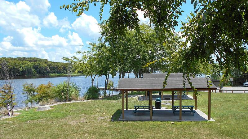 Picnic tables along river