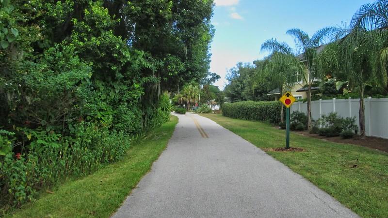 Bike path behind townhomes
