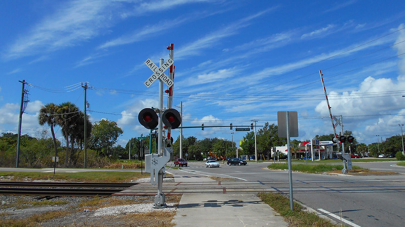Railroad crossing at bike path