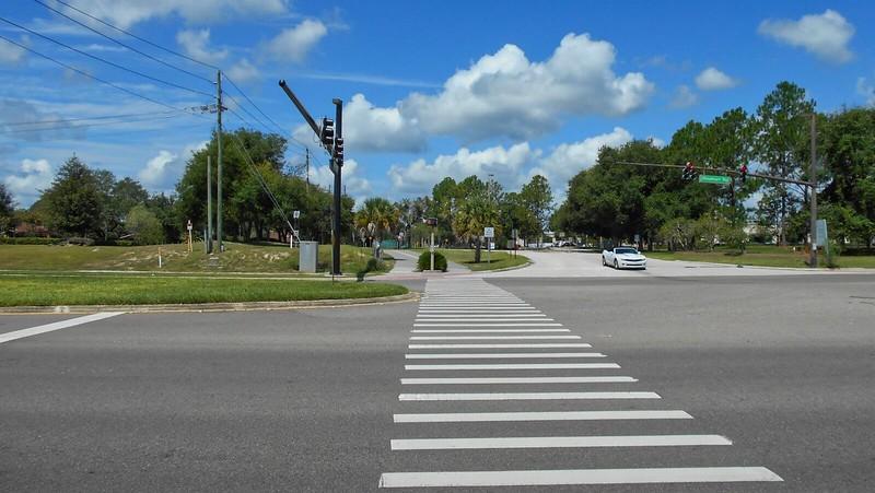 Crosswalk across four lane road