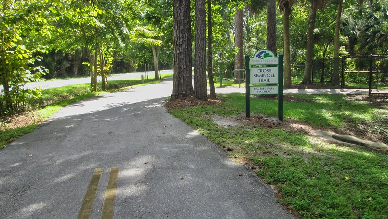 Bike path with Cross Seminole Trail sign