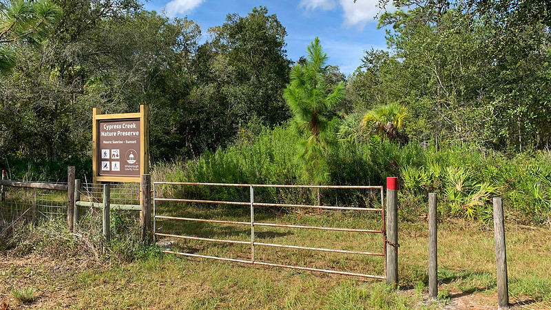 Sign and entrance gate to preserve