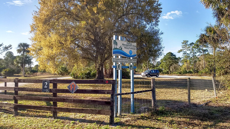 Trailhead signage and parking area
