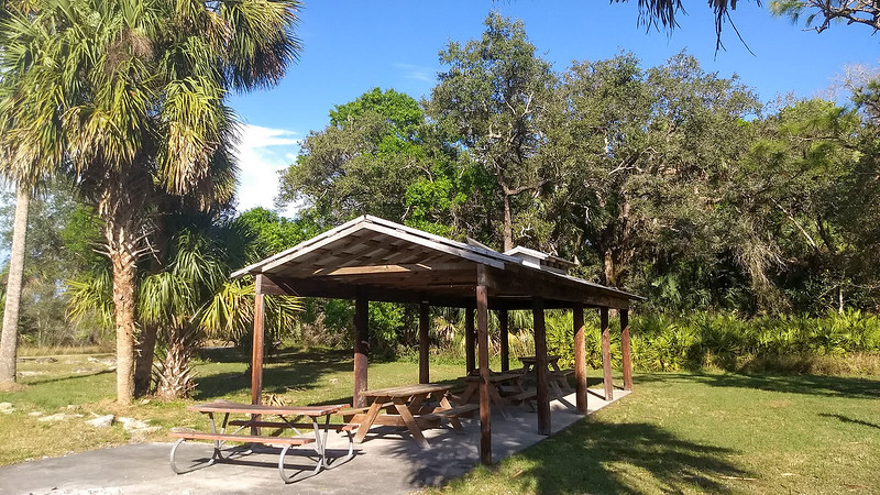 Picnic shelter with tables