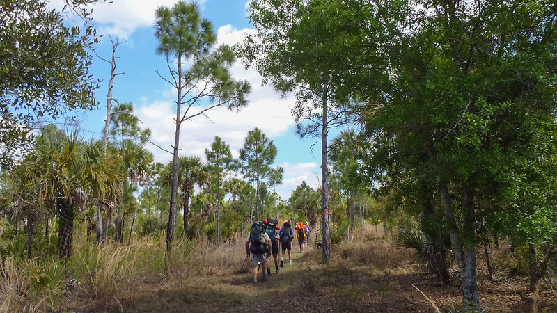 Backpackers on trail
