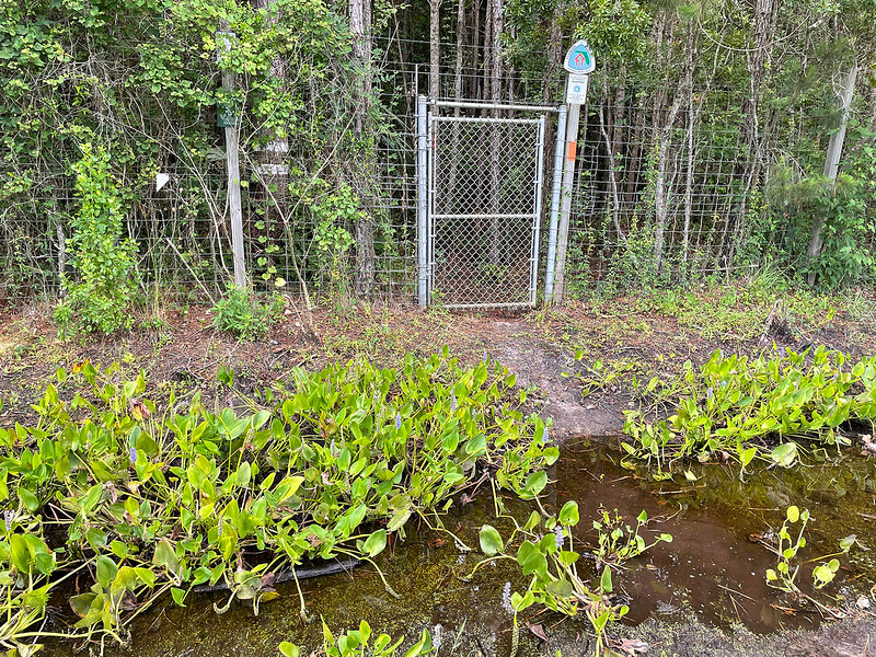 Gate with FNST symbol and water filled ditch in front of it
