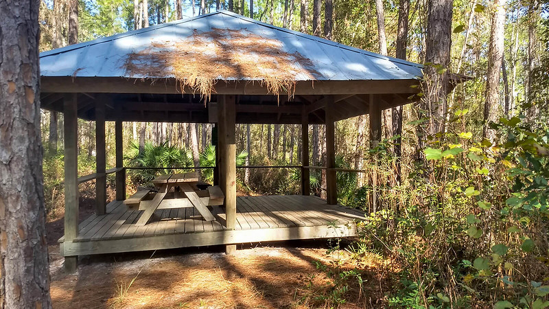 Open sided shelter with roof and picnic table