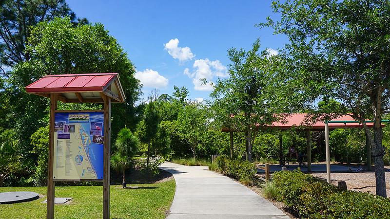 Trailhead kiosk picnic pavilion and walkway