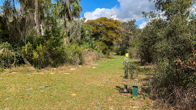 Grassy path with an orange sign saying