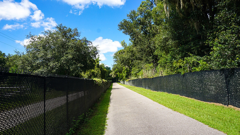 Fences along bike path