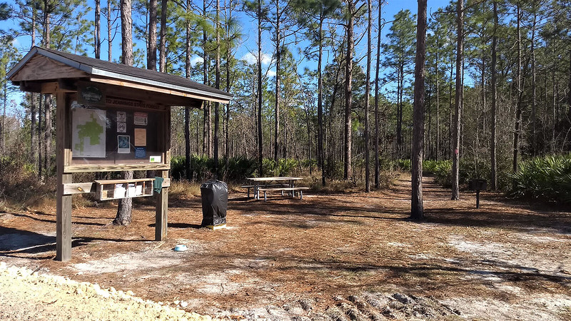 Jennings State Forest trailhead kiosk