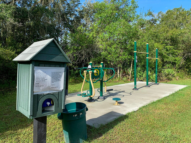 Outdoor exercise station with water cooler