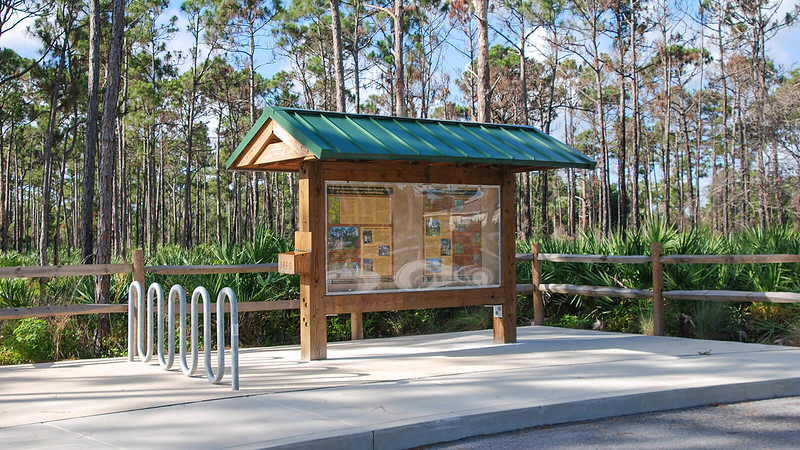 Trailhead kiosk and bike rack