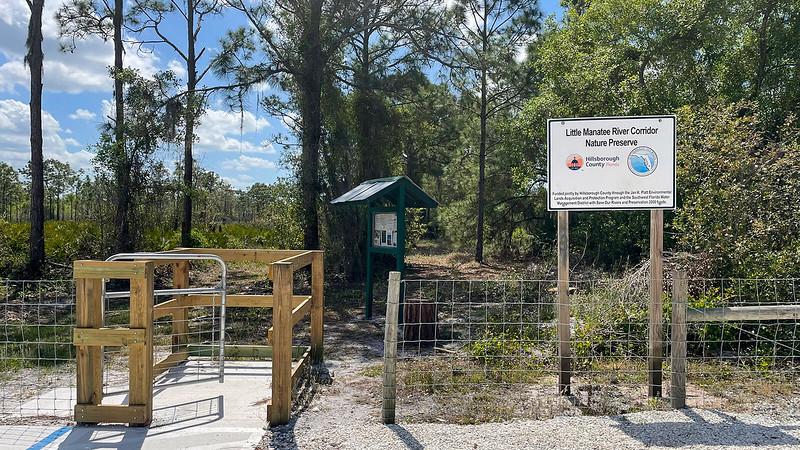 Trailhead kiosk and pass through gate