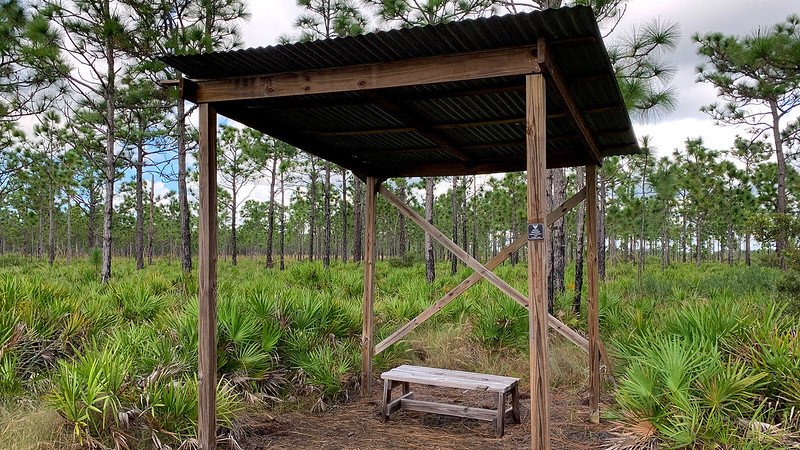 Trail shelter with bench