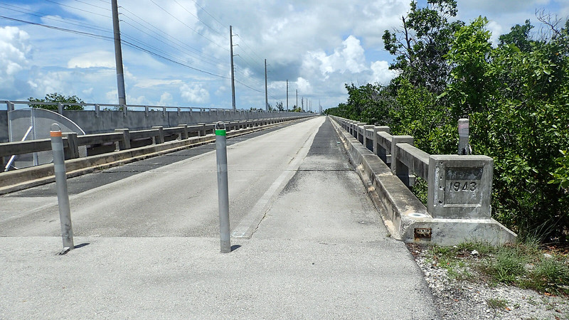 Bridge with 1943 cast in concrete pillar