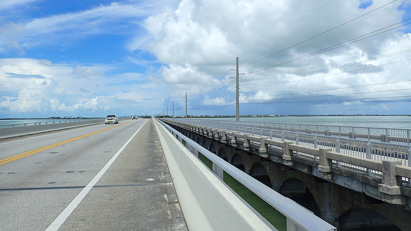 Cyclist's view of adjoining bridge from bike lane on US 1