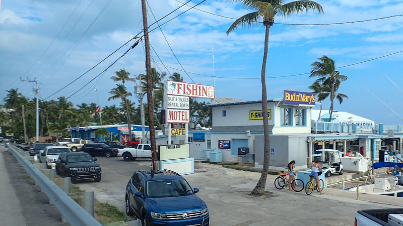Compact marina and dive shop with signage
