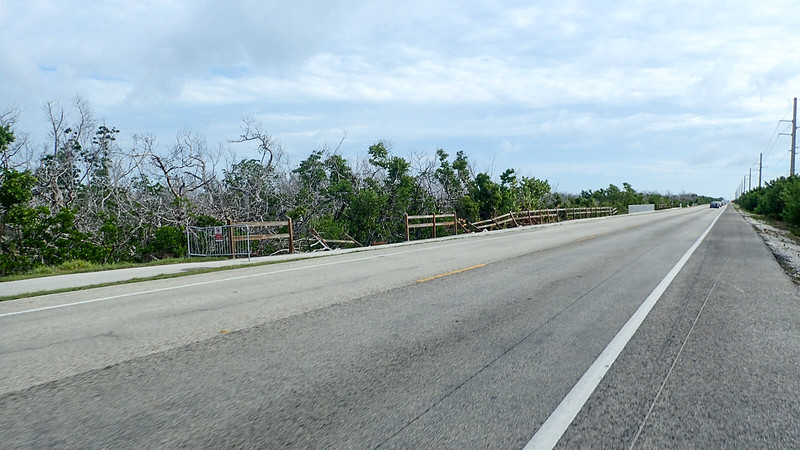 Bike lane and bike path on far side of highway with broken fence