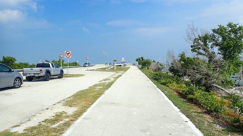 Trucks parallel parked adjoining bike path