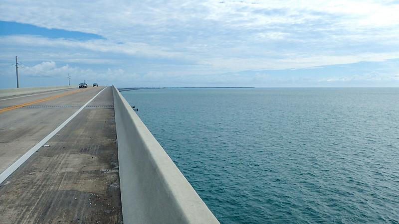 Bike lane on Seven Mile Bridge in Florida Keys