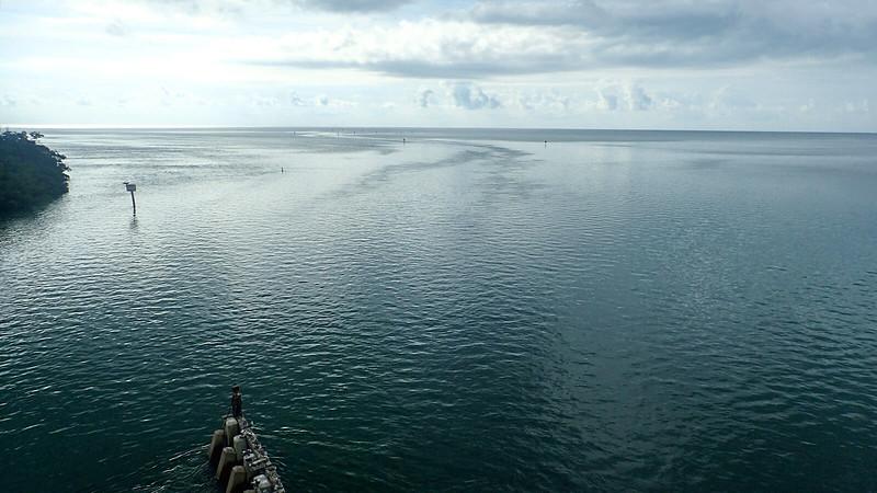 Dark teal waters under overcast skies looking to Atlantic Ocean