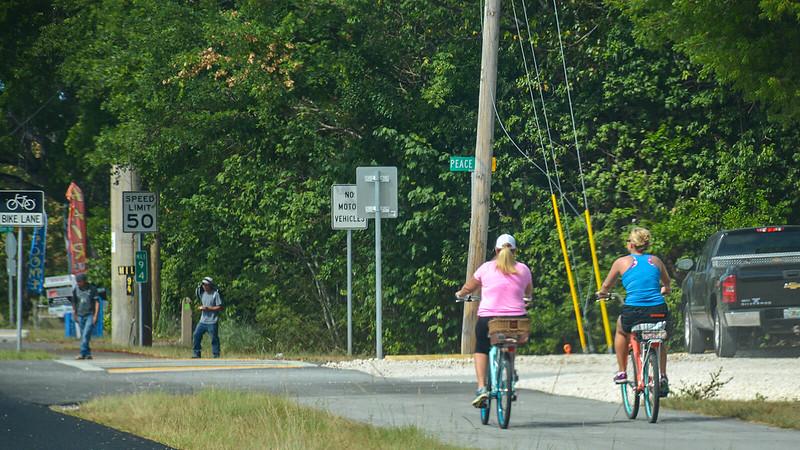 Locals using the bike path