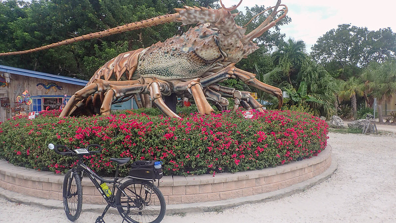 Bike in front of giant lobster statue