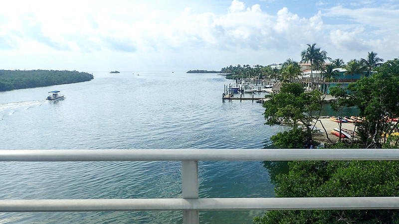 View over bridge rail of mangrove islands and boats