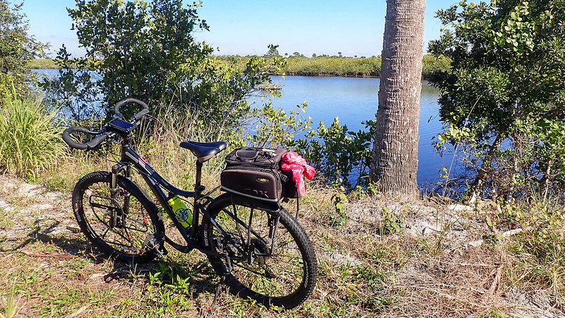 bike parked in front of large pond