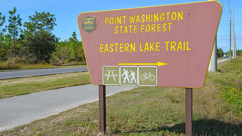 Sign along CR 395 for Eastern Lake Trail