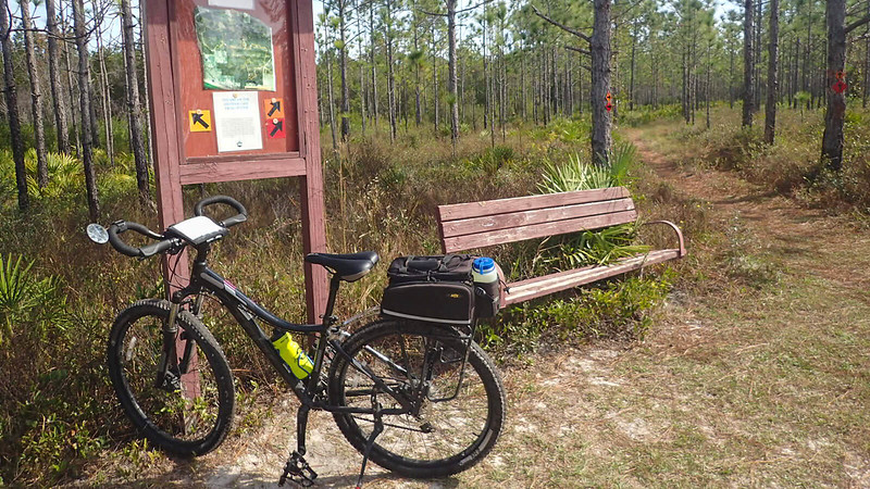 Bike next to kiosk and bench in woods