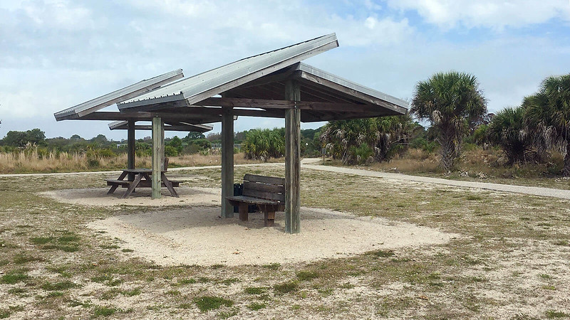 Sheltered picnic benches