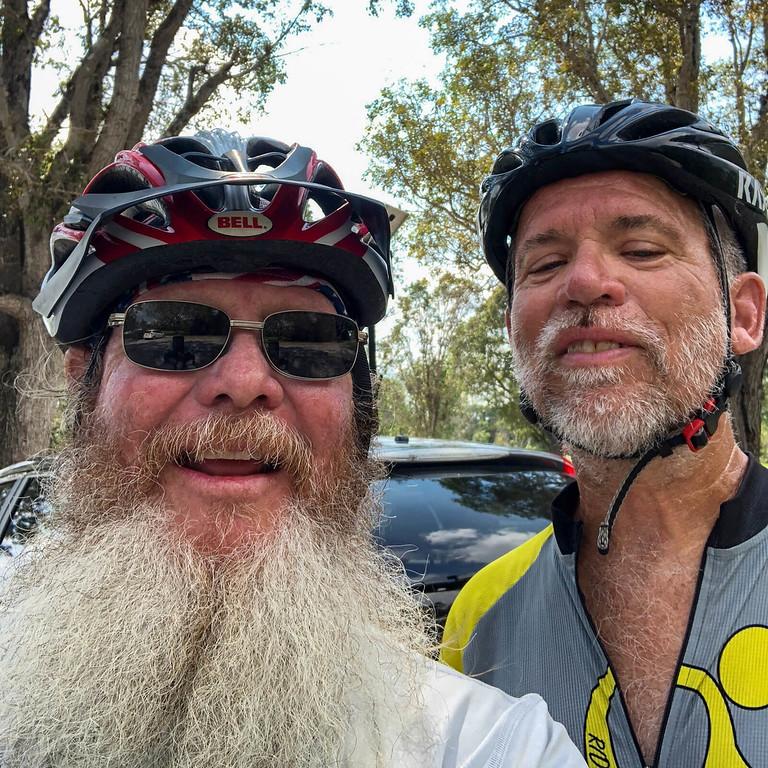 John and Bill selfie with bike helmets