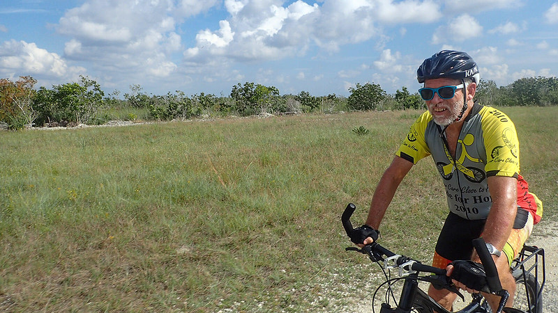 Bill on bicycle in Everglades