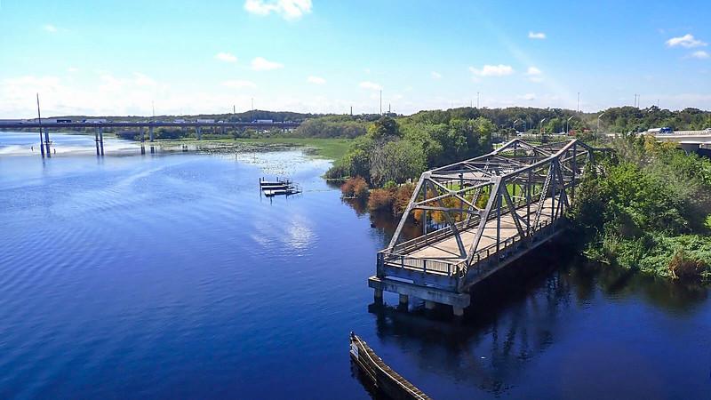 Looking down from bridge