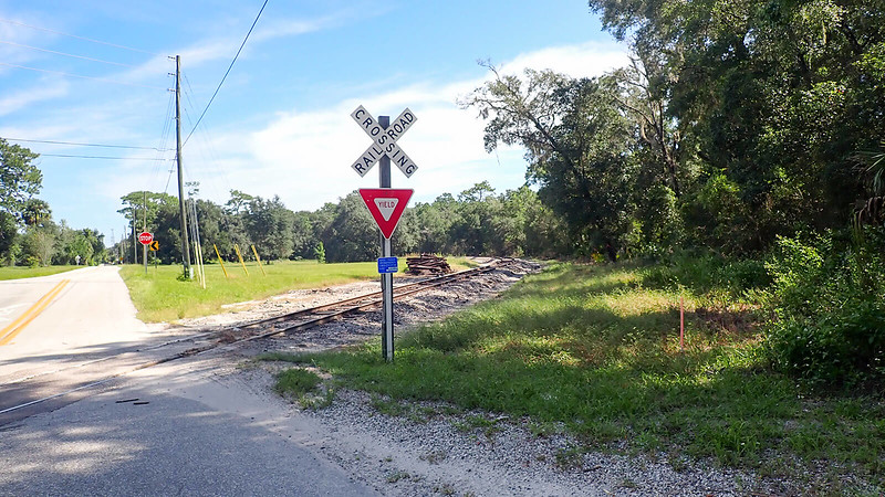 Railroad crossing sign and tracks in rural area