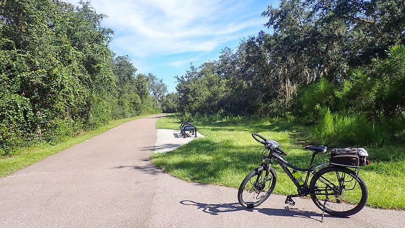 Bike standing near bench