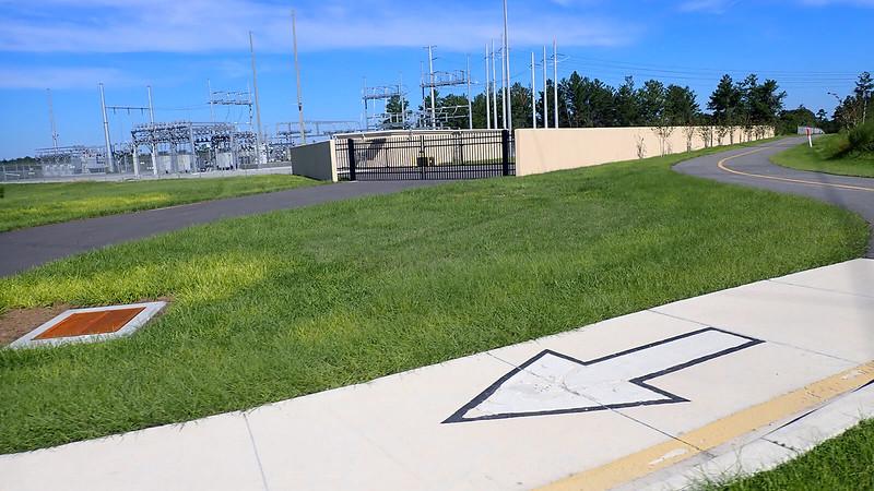 Bike path inside power company property